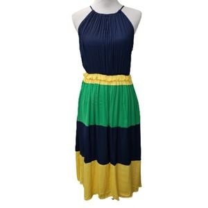 Gibson Latimer Dress Tiered Color Block Sz S